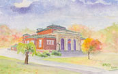Lawrence Library watercolor by Debra Reilly